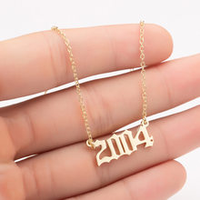 Aço inoxidável 2002 2003 2004 2005 2006 número pingente colares feminino femme instrução colar número do ano jewlery collier