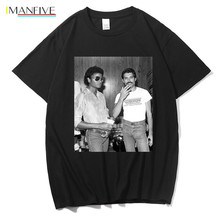 Tee Shirt Homme Freddie Mercury and Michael Jackson Black T Men Casual 100% Cotton T-Shirt Mens Shorts Streetwear Fashion