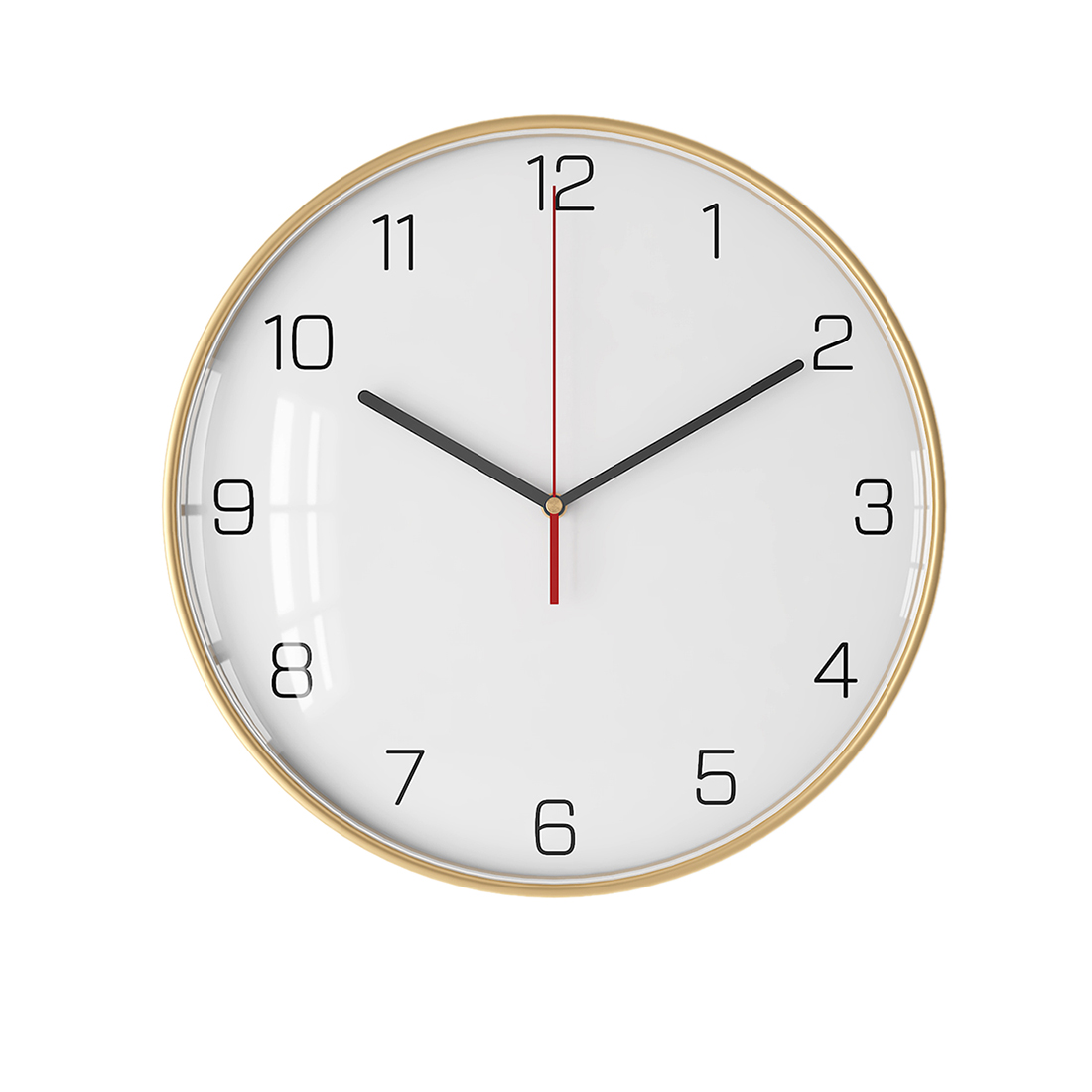 12 Inches 30cm Simple Silent Wall Clock Hanging Clock Wall Decoration With Golden Black Metal Frame For Home Decor - Thin Type