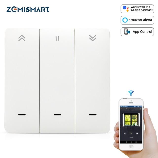 Zemismart WiFi Tuya Curtain Switch Wall Switch Work with Alexa Google Home Smart Life Timer Control