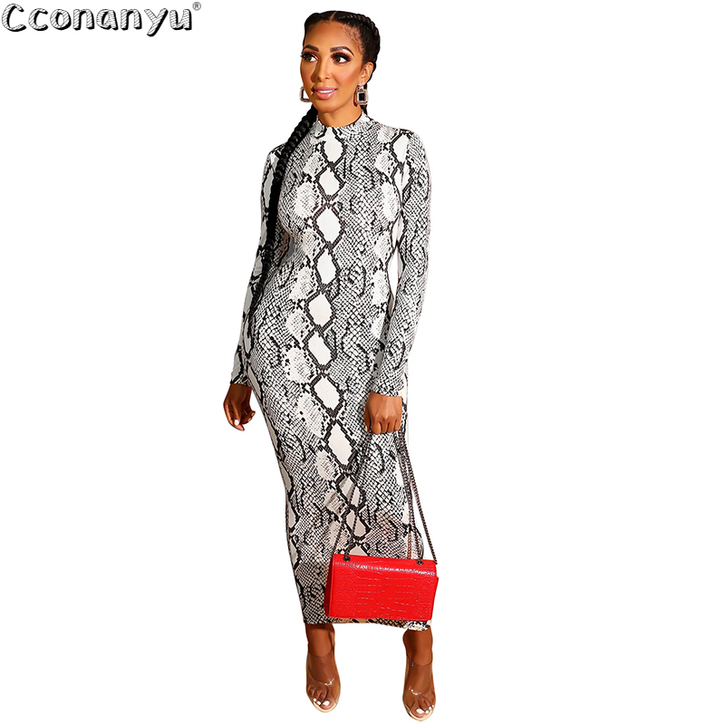 Women SnakeSkin Dress Sexy Print Womens Snake Skin Sheath Long Sleeve Zipper Deep V Midi Bodycon Elegant Party Dress