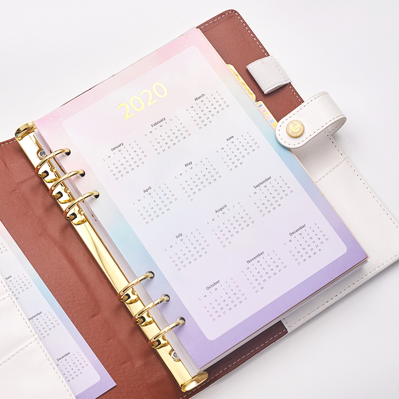 Daily Index Divider 2020 Year Calendar Spiral Notebook Filler Paper A5A6 Monthly Planner Agenda Organizer School Cute Stationery