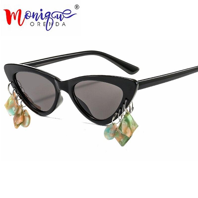 Солнцезащитные очки в ретро стиле женские, модные солнечные аксессуары кошачий глаз в винтажном стиле, с уникальным дизайном, с подвесками, ...