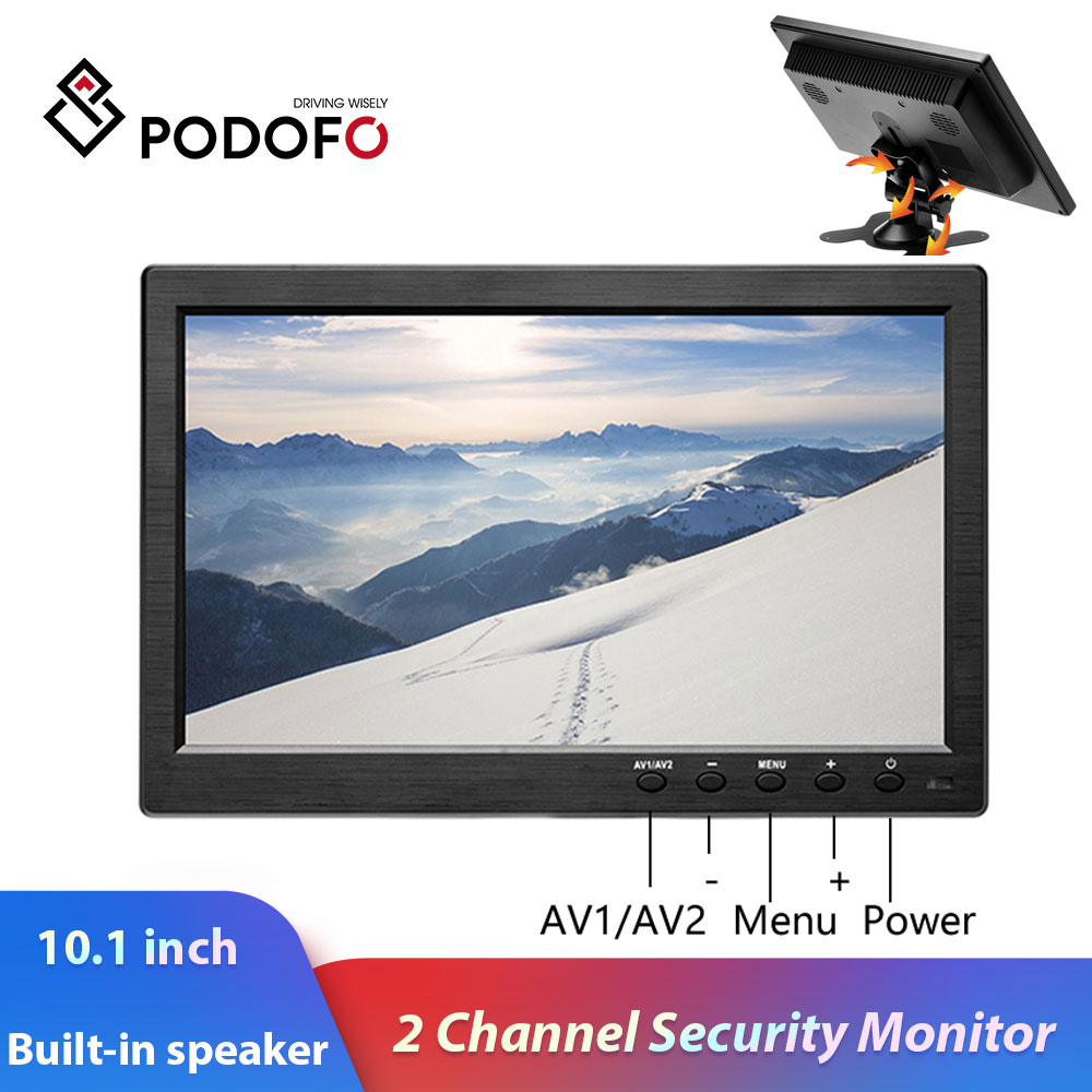 Podofo 10 1inch LCD HD Monitor Mini TV  amp  Computer Display Color Screen 2 Channel Video Input Security Monitor With Speaker VGA HDMI