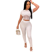 Ribbed Mesh Two Piece Set Women Pants Outfits Bodycon Short