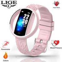 2019 nuevo reloj inteligente femenino para mujer reloj de Fitness rastreador de ritmo cardíaco Función de presión arterial monitor impermeable deporte smartwatch