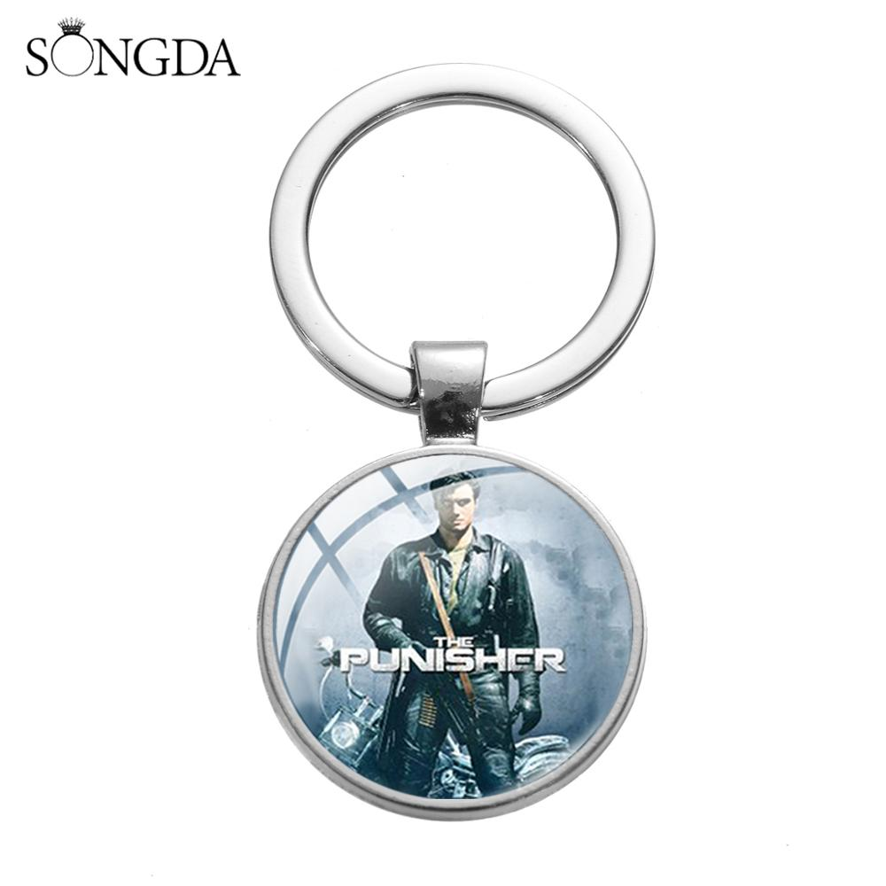 SONGDA The Punisher Movie Periphery Keychain Gothic Skull Sign Glass Cabochon Motorcycle Car Key Ring Key Accessories Fans Gifts image