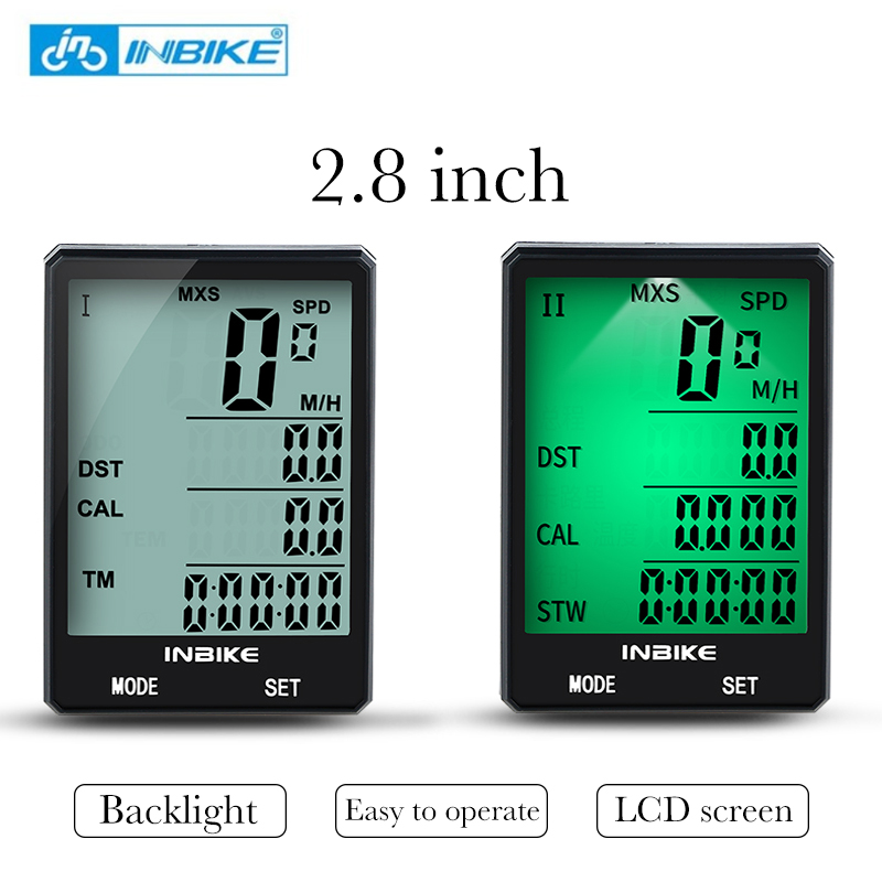 INBIKE 2.8'' Large Screen Bicycle Computer Wireless Bike Computer Cycling Measurable Stopwatch Rainproof Speedometer Odometer