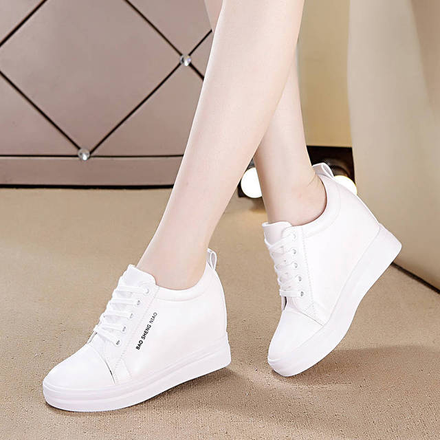 Inside the high-rise small white shoes women 2019 new casual thin Korean version thick-soled sports casual single set nurse shoe