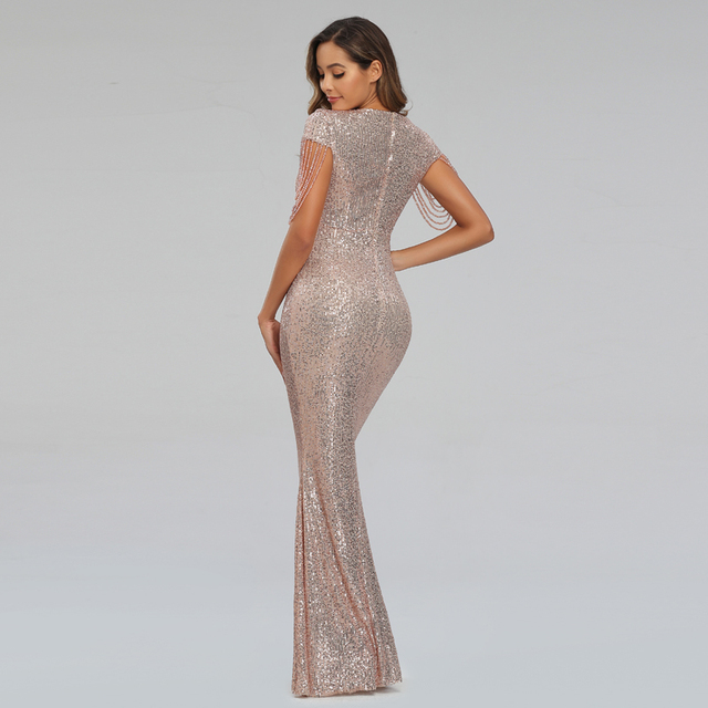 New Women Sequins Long Evening Dress Elegant V-neck Beading Evening Party Dress 3
