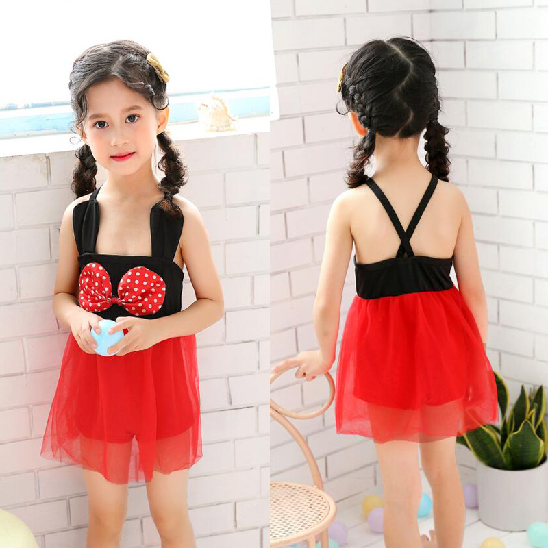 Girl'S Bathing Suit 2019 New Style 2-6-Year-Old Young STUDENT'S Bow Mesh Dress Cute Princess Children Women's Hot Selling Swimwe