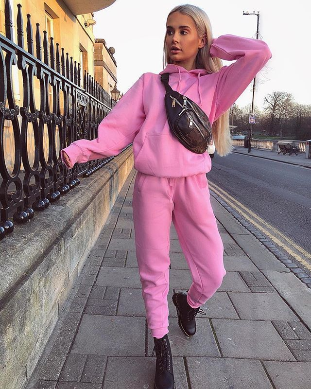 2019 Pink Women's Set Tracksuit Full Sleeve Hoodied Thick Wool Sweatshirt Casual Pants Suit Two Piece Set Outfits  Streetwear