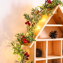 2m String Light Christmas Red Fruit Light With Pine Needles Battery Operate Leaf Garland Fairy Night Light For Wedding Party