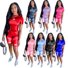 Nadruk napisu LOVE Workout dwuczęściowe stroje dla kobiet t-shirty z krótkim rękawem i sportowe krótkie spodnie Jogger Activewear