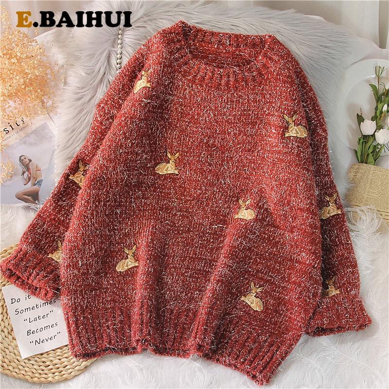 EBAIHUI 2021 Women's Kawaii Ulzzang Vintage College Deer Embroidery Sweater Female Korean Thick Cute Loose Harajuku Clothing
