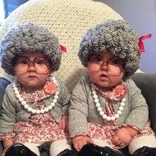 Парик бабушки-дедушки для новорожденных, реквизит для студийной фотосъемки, креативные идеи для косплея