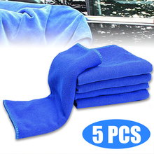 Mayitr 5pcs Blue High Absorbent Wash Cleaning Polish Towel Auto Car Soft Microfiber Towel Cloth 30*30cm for Car Home Cleaning 70 x 30cm multi functional microfiber nanometer car washing hand towel blue