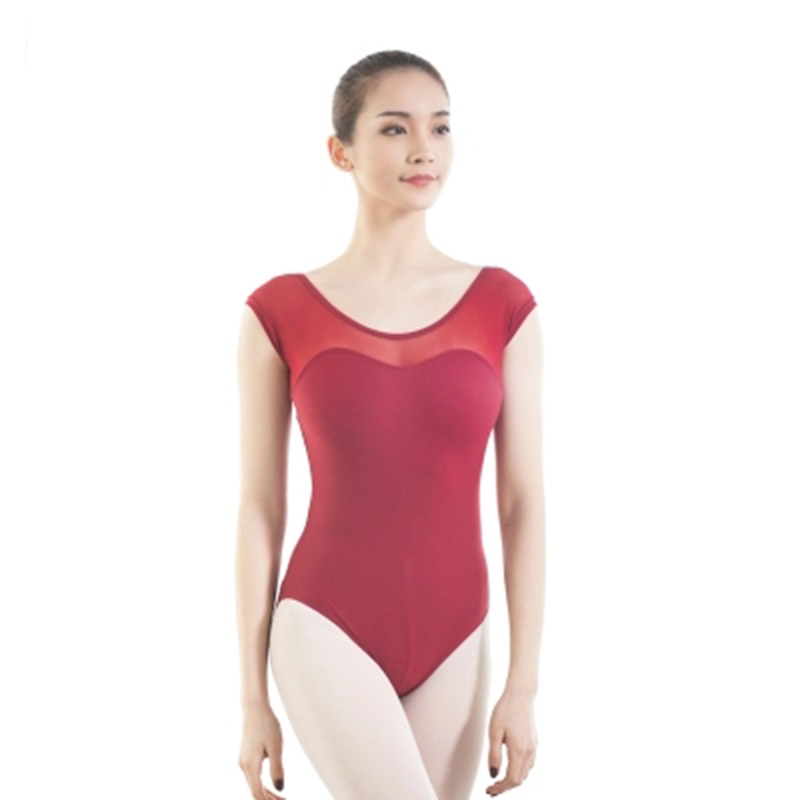 Leotardos de Ballet de LICRA de algodón para mujeres, nuevo traje de Ballet de manga corta con encaje para adultos, leotardo de gimnasia de 5 colores para niñas