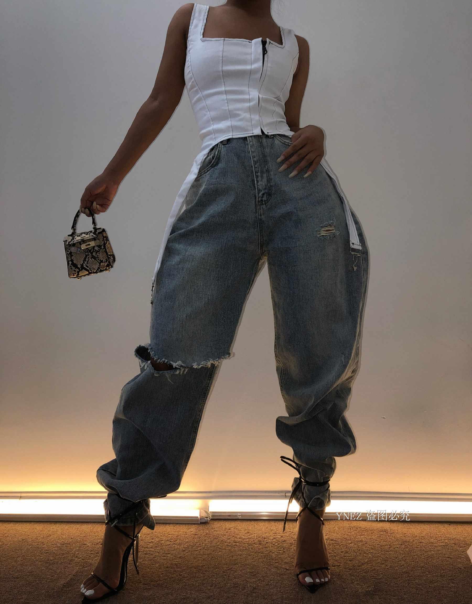 KGFIGU seksowne kobiety Zipper podkoszulki 2019 letnie kobiety przycięte koszulki biały Denim krótki camisole streetwear