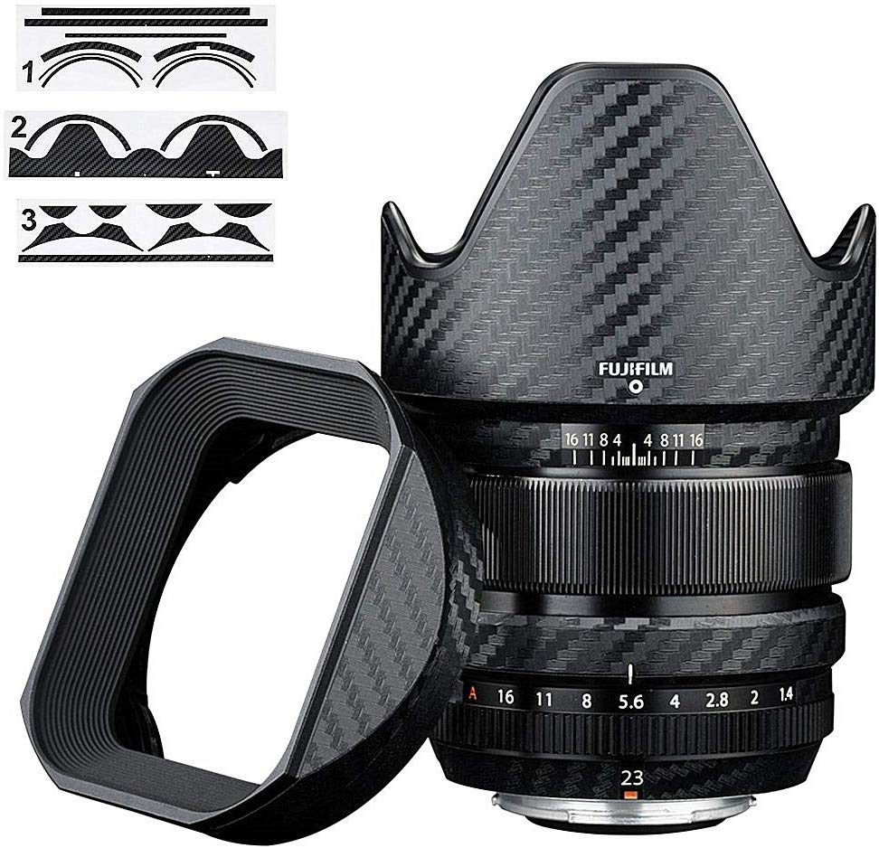 Anti-Scratch Lens And Lens Hood Cover Skin Film For Fujifilm XF 23mm F1.4 R Lens & LH-XF23 Lens Hood 3M Sticker Carbon Fiber