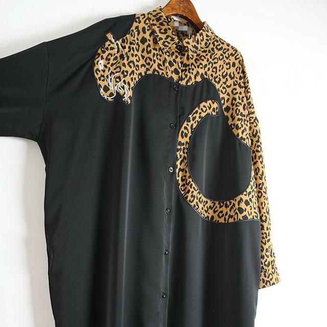 XITAO Europe Style Leopard Print Stitching Irregular Dress Women Long Sleeve Loose Plus Size Chiffon Dresses for Women WJ1018 3