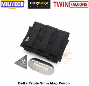 Image 5 - MILITECH TWINFALCONS TW 500D Delustered Cordura Molle Delta Triple 9mm Mag Molle Pouch Magazine Glock Pouch For Police Military