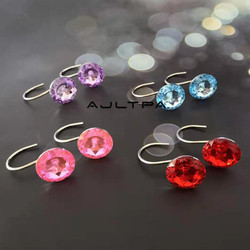 12 zestaw kolorowe kryształ zasłona prysznicowa Bling haki akrylowe przezroczyste wałki do zasłona prysznicowa dekoracyjne haki H4816