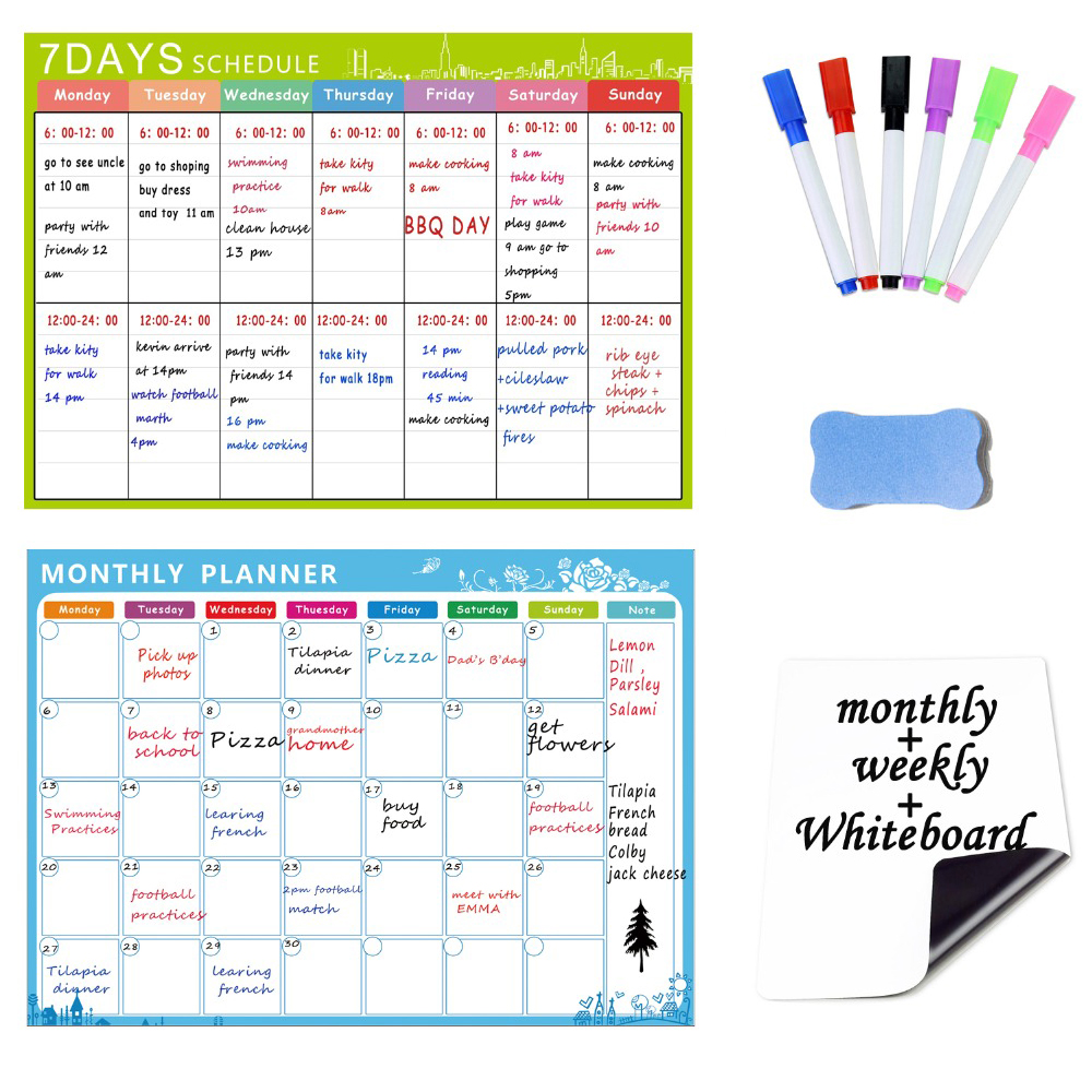 10 IN 1 Magnetic Dry Erase <font><b>Whiteboard</b></font>. 3PCS Refrigerator Magnet Calendars Monthly, Weekly Organizer & <font><b>A5</b></font> White Board Notepad image