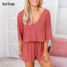 Summer Women Half Sleeve Wide Leg Pant Home Wear Solid V-Neck Casual Elegant Female Pyjamas Shorts Pullover Top Set Home Clothes