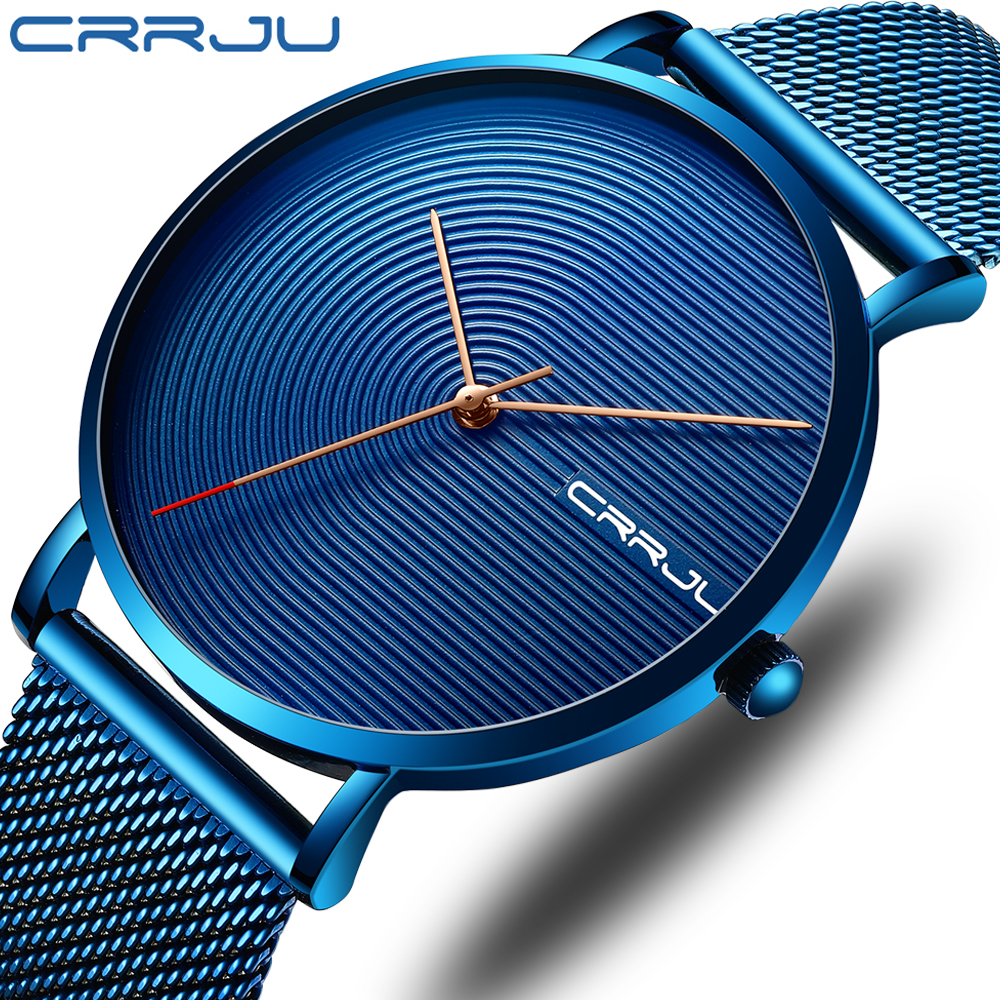 CRRJU Luxury Men Watch Fashion Minimalist Blue Ultra-thin Mesh Strap Watch Casual Waterproof Sport Men Wristwatch Gift For Men