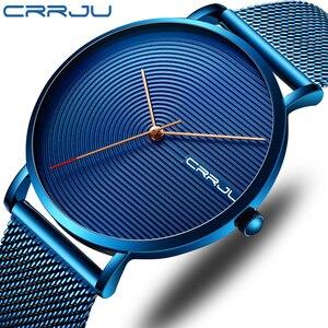CRRJU Luxury Men Watch Fashion Minimalist Blue Ultra-thin Mesh Strap Watch Casual Waterproof Sport Men Wristwatch Gift for Men(China)