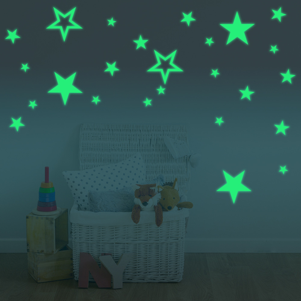 Cartoon Luminous Stars Combination Wall Sticker Bedroom Living Room Home Decoration Kids Room Glow In The Dark Decals Stickers