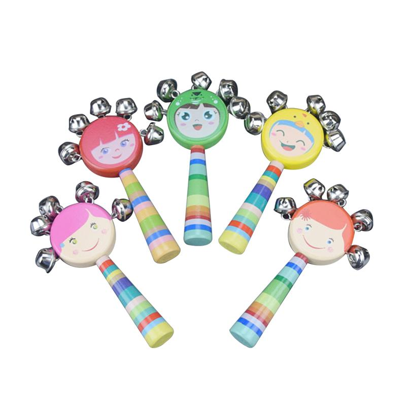 Wooden Box Rattle Cartoon Smiling Rainbow Handle Bells Jingle Stick Shaker Rattle Baby Kids Children Musical Toys (Random Color)