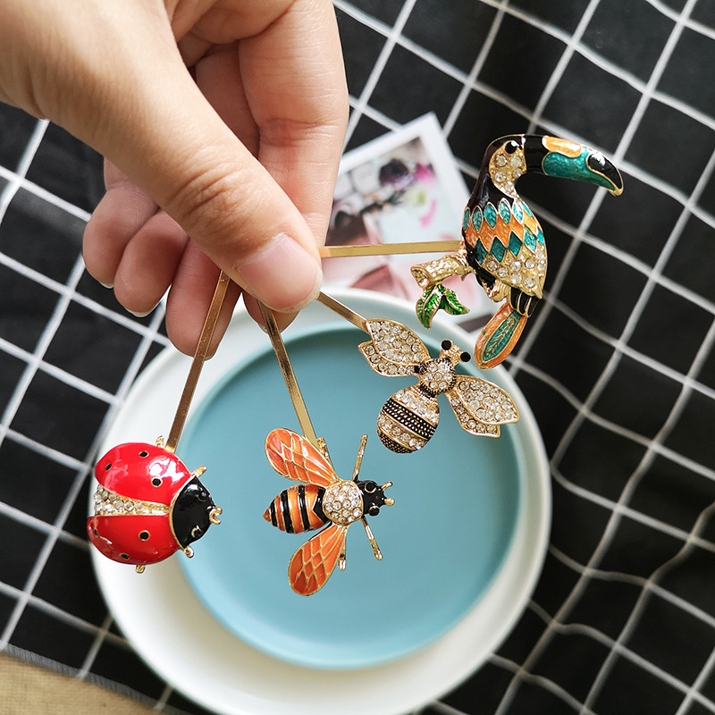 Colorful Cute Hair Clip Delicate Toucan Bee Plants Cactus Lovely Barrettes Girl High Quality Crystal Hairpins Hair Accessories