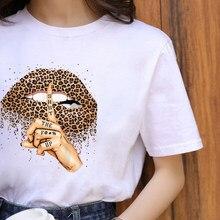Camisa de moda harajuku lábios leopardo gráfico verão t camisa feminina topos base o-decote preto t beijo leopardo lábio engraçado meninas tshirt