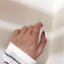 MENGJIQIAO 2020 nouvelle mode géométrique coeur anneaux pour les femmes étudiants mat métal réglable mi doigt Knuckle anneau bijoux