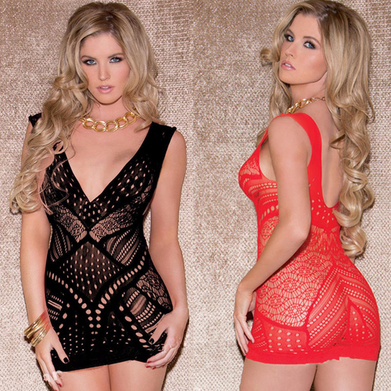 Fishnet Erotic Dress Sexy Transparent Lingerie Plus Size Baby Dolls Women Erotic Lingerie Sex Clothes Lenceria Sexy Costumes