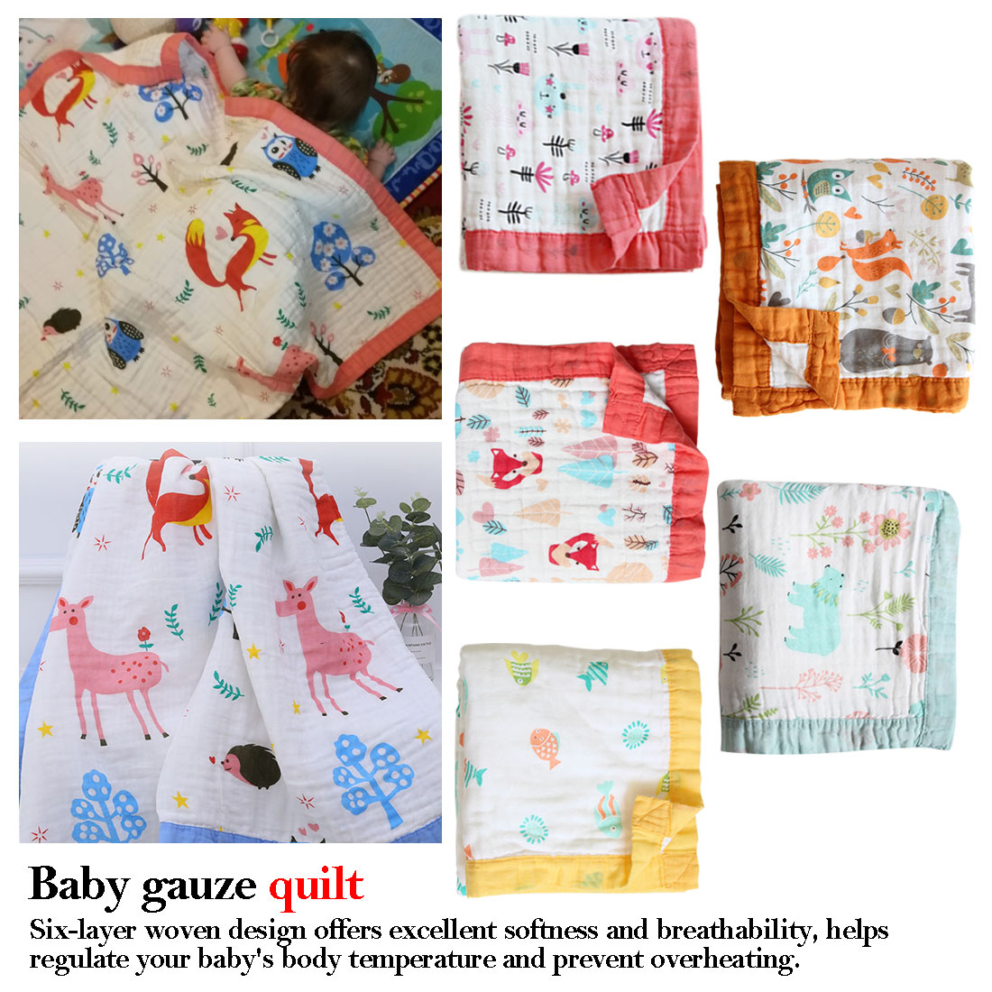 110*110cm Cotton Baby Muslin Swaddle Blanket Newborn Baby Bed Cover Receiving Blanket 6 Layers Infant Kids Cotton Muslin Blanket