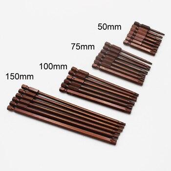 1/4 hex shank magnetic torx screwdriver bit set long 50mm 75mm 100mm 150mm T10 T15 T20 T25 T27 T30 T40 набор торцевых ключей hammer flex 601 031 torx 8 шт t9 t10 t15 t20 t25 t27 t30 t40 crv