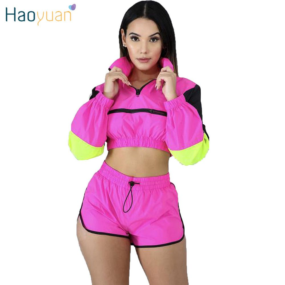 HAOYUAN Two Piece Set Tracksuit Women Fall Festival Clothes Crop Top And Biker Shorts Sweat Suit Matching Sets 2 Piece Outfits