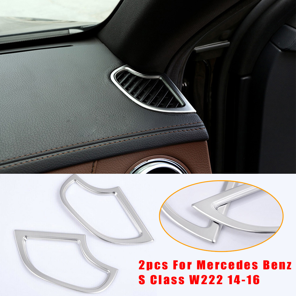 2pcs Dashboard Air Outlet Vent Cover Trim Premium ABS Chrome Car Interior Decoration For <font><b>Mercedes</b></font> Benz <font><b>S</b></font> <font><b>Class</b></font> <font><b>W222</b></font> 14-16 image