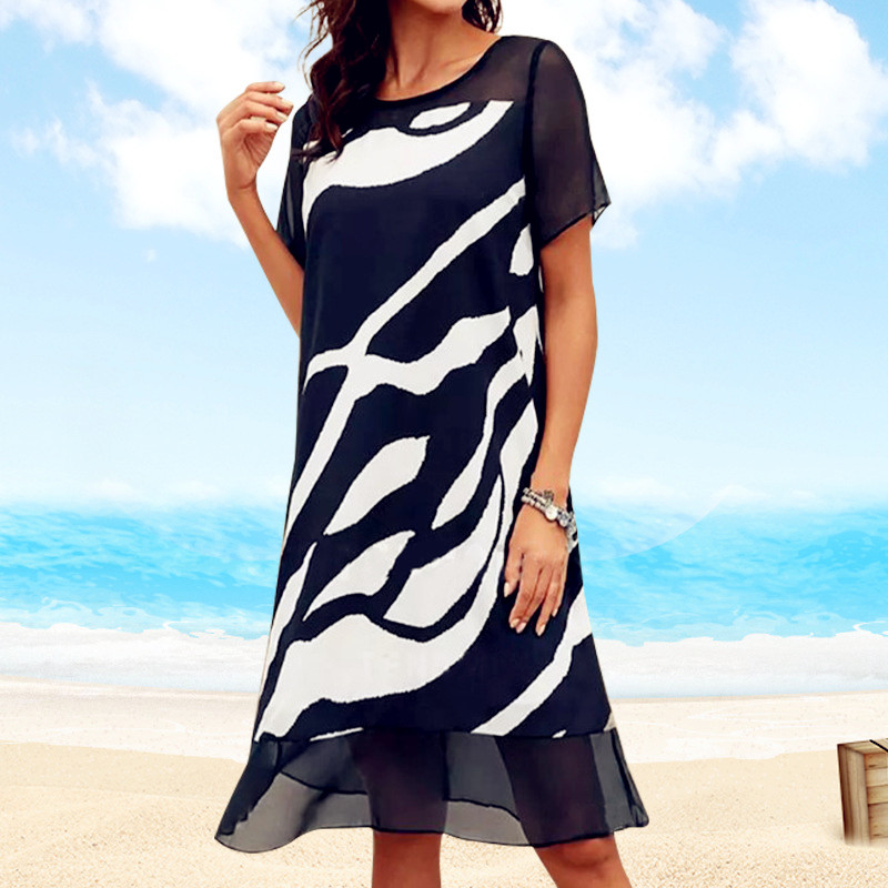 Women 2021 Loose Lace Patchwork Boho Vintage Ruffles Befree Printed Dress Large Big Summer Party Beach Dresses Plus Sizes