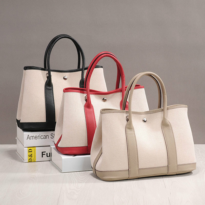 Women Bussiness Bag With Scarf Canvas Crossbody Bag In Women\'S Totes Genuine Leather Handbags Luxury Brand Bags Garden Party Bag
