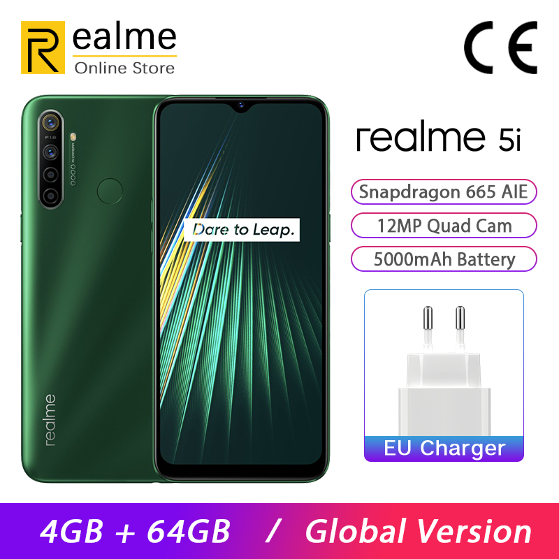 Global Version Realme 5i Smartphone 4GB RAM 64GB ROM Snapdragon 665 AIE 6.5'' 12MP Quad Camera 5000mAh Android P Mobile Phone
