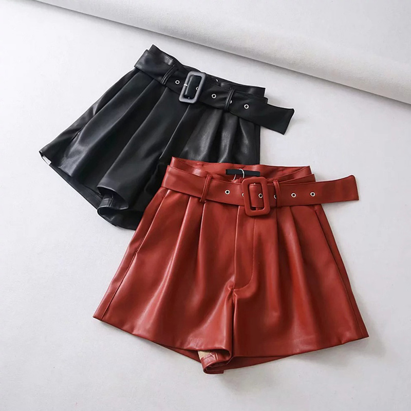 Women's Winter Leather   Shorts   With Belt Faux PU Leather High Waisted Wide Leg Black   Shorts   Ladies 2020 Spring Fashion Clothes
