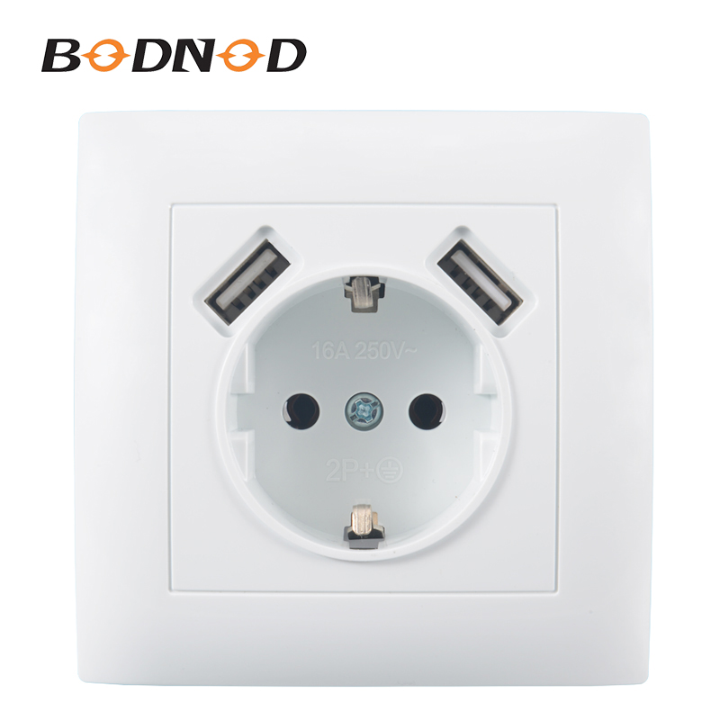 USB Wall Socket Double USB Port 5V 2A Free Shipping Usb Enchufes Para Pared  Prise Electrique Prise Usb Murale Steckdose LC--19