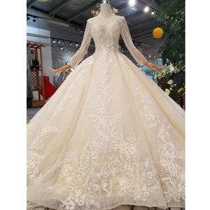 Image 1 - BGW HT43021 robe de mariée en cristal à la main Champagne col rond à manches longues Corset lacets dos robe de mariée avec longue mode de Train