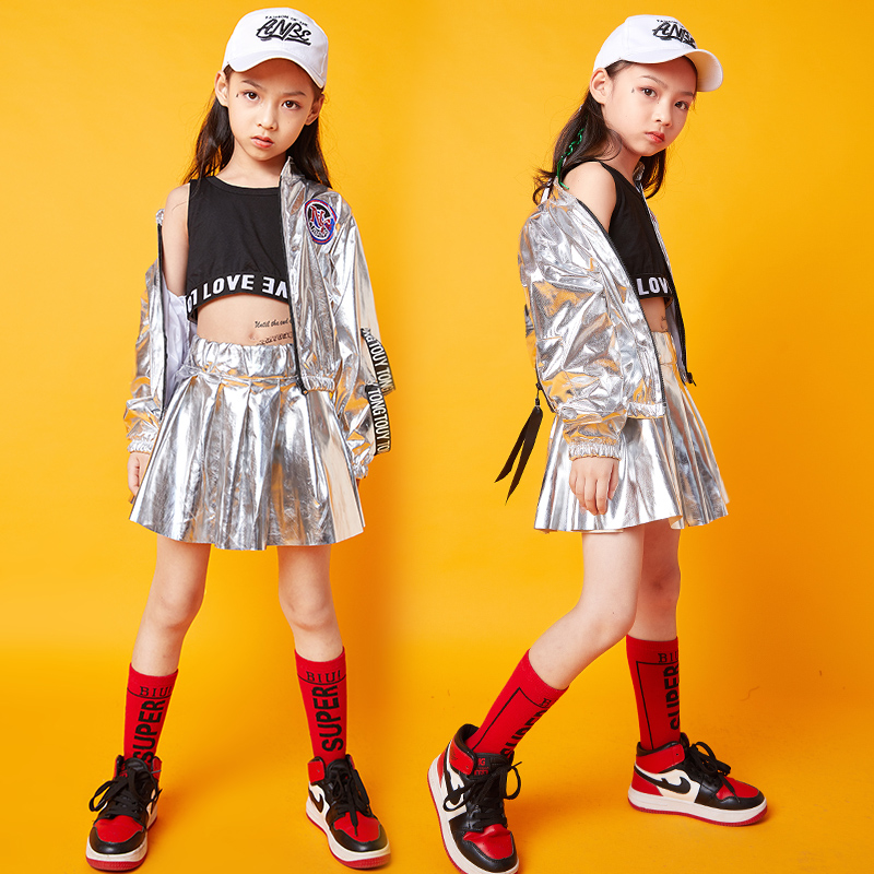 Silver Hip Hop Costumes For Girls Long Sleeve Street Dance Rave Outfit Kids Jazz Performance Clothing Practice Clothes DC2947