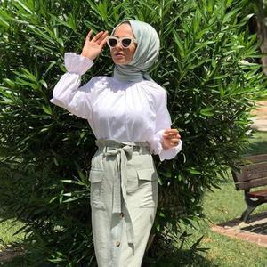 Image 5 - Muslim Women Long Sleeve Blouse White Casual Top Shirt Turtle Neck Loose Clothes Plus Size Elegant OL Style Blouse Islamic Arab