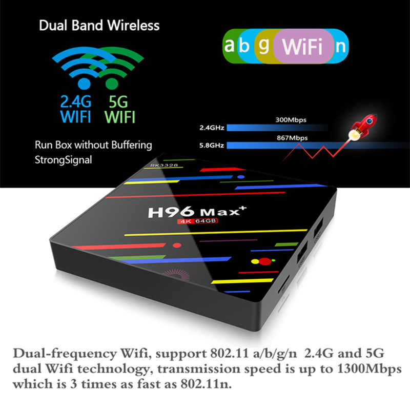 HAAYOT H96 MAX + Tvbox Android 9.0 4G 64G Smartbox décodeur RK3328 TV Box Google voix contrôle 2.4/5G Wifi 4K lecteur multimédia